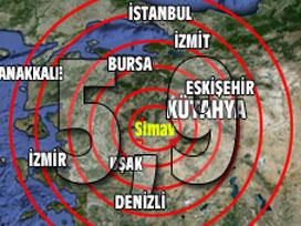 Kütahya'da 5,9 büyüklüğünde deprem