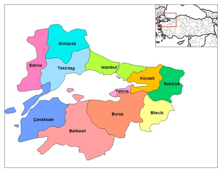 Marmara Bölgesi'nde Yer Alan İller Şehirler ile ilgili görsel sonucu