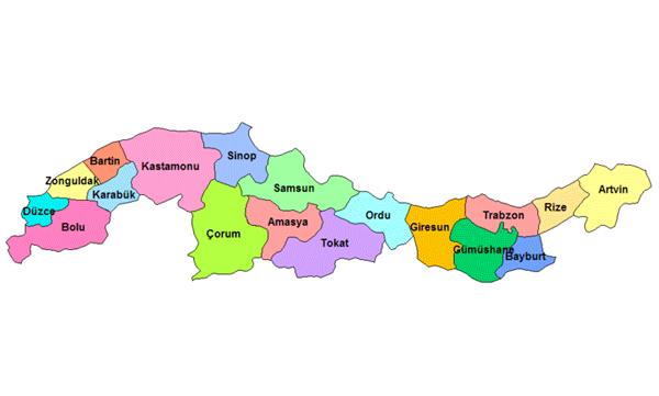 Karadeniz Bölgesi'nde Yer Alan İller Şehirler ile ilgili görsel sonucu