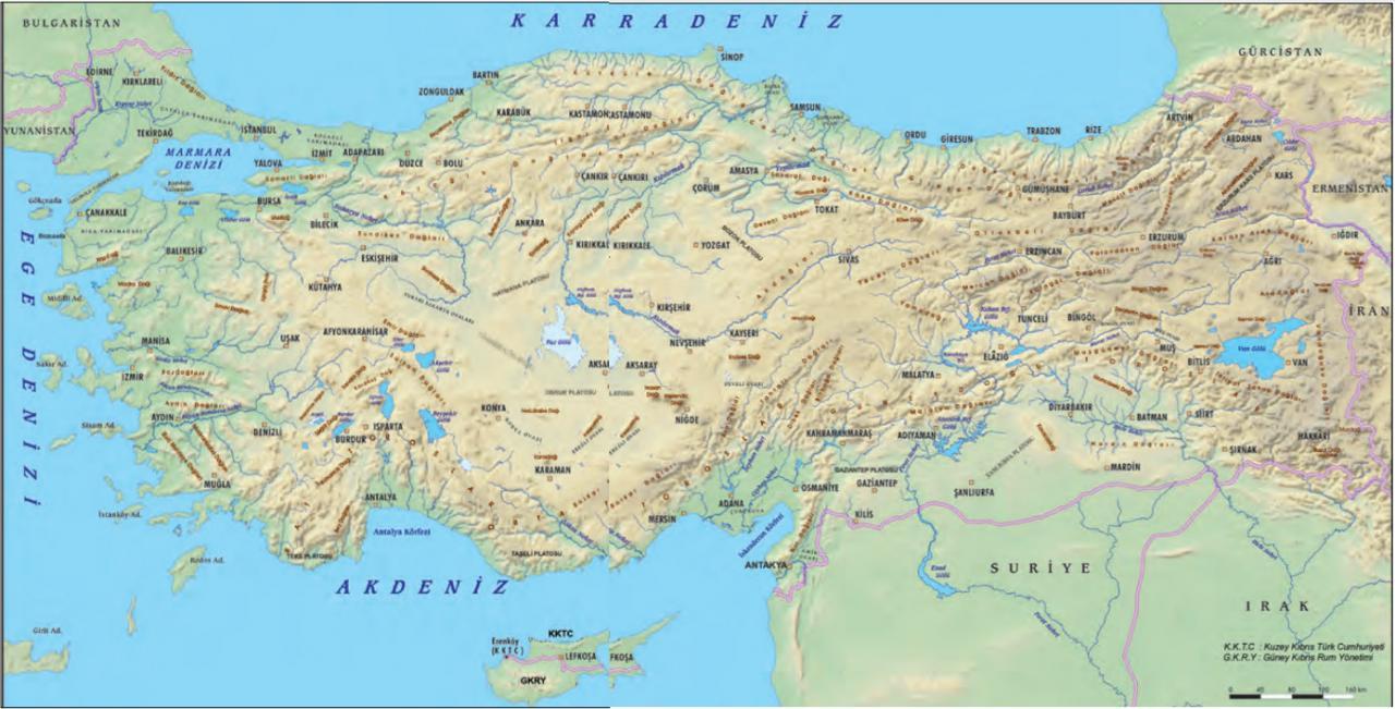 türkiye yeryüzü şekilleri haritası