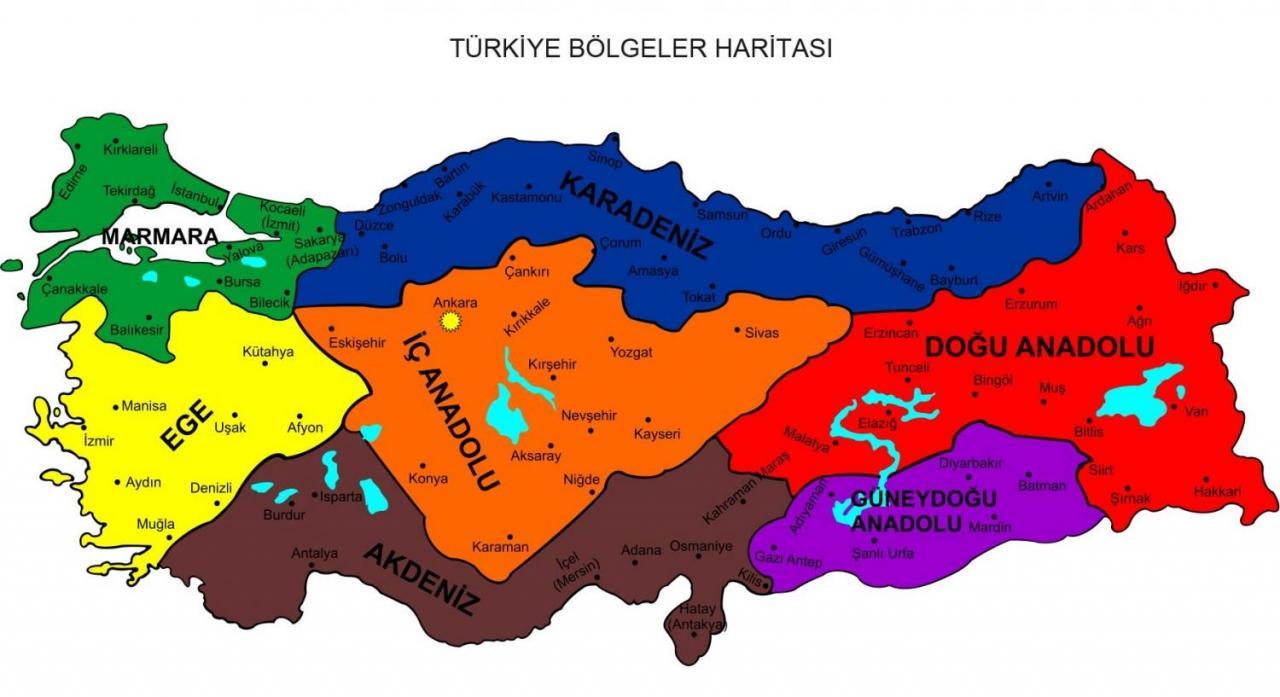 türkiye bölgeler ile ilgili görsel sonucu